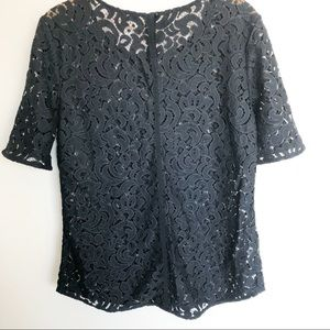 LOFT Tops - LOFT lace blouse Navy Sz M
